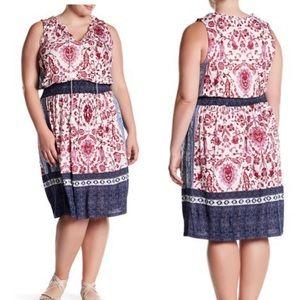 Lucky Brand Kerry Mix Print Knit Dress Plus Sz 1X